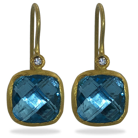 New Kurtulan Cusion Blue Topaz Earrings