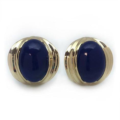 Raymond Mazza 14kt Yellow Gold with Indigo Cabochon Lapis Earrings