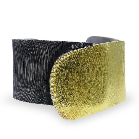 Black & Gold Kurtulan Cuff with Diamond Trim