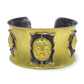 "Kurtulan ""3 Faces"" Cuff Satin Gold and Silver Cuff"