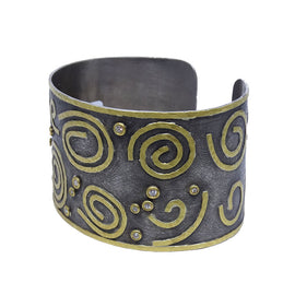 Kurtulan Cuff with Gold Swirls and Diamonds