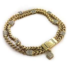 Gold and Diamond Foxtail Station Bracelet