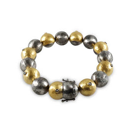 Kurtulan Silver and Gold Hammered Ball Bracelet