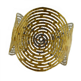 Kurtulan Hammered Gold Cuff Swirl and Diamonds