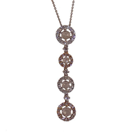18KT W/G R/G PINK & WHITE DIAMOND NECKLACE