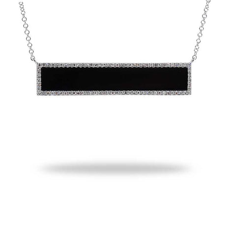 Diamond and Black Onyx Bar Necklace