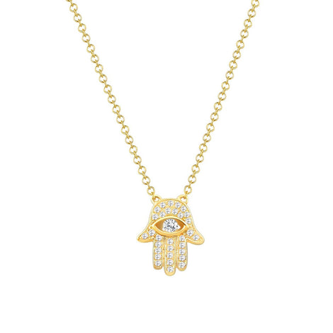 14k Yellow Gold & Diamond Hamsa Necklace