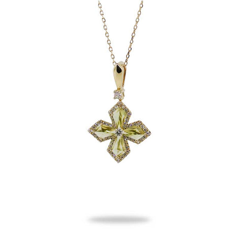Peridot and Diamond Gold Cross Pendant