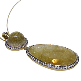 18KT Y/G Rutilated Quartz Necklace