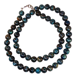 14 mm Chrysocolla bead necklace