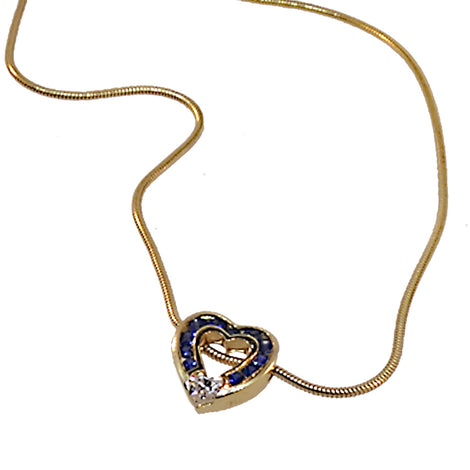 Diamond and Sapphire heart shaped pendant