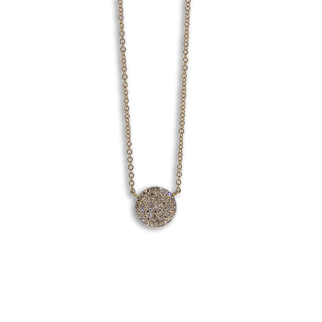 Diamond circle charm necklace