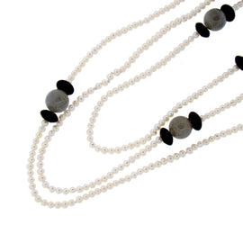 Pearl, Labradorite, & Black Onyx Necklace