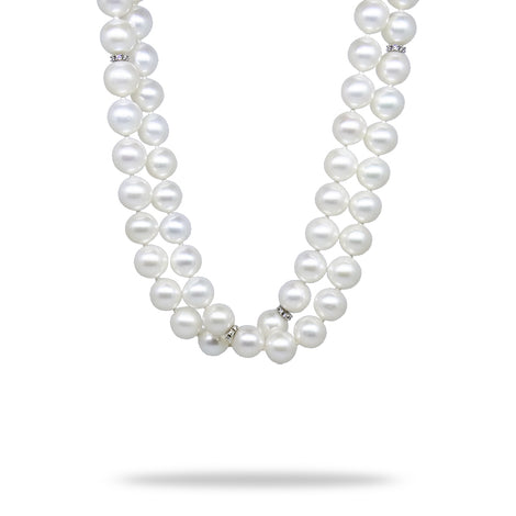 "54"" Pearl Necklace with Gold and Diamond Rondels"