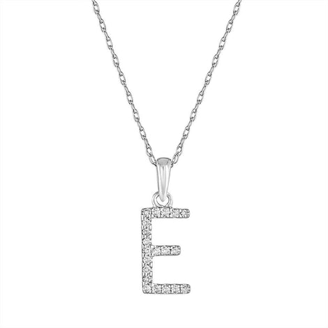 "Sabrina White Gold & Diamond ""E"" Pendant"
