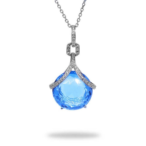 Blue Topaz and Diamonds Necklace