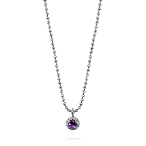 Diamond & Amethyst Halo Pendant