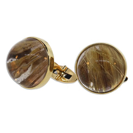 Rutilated Quartz and Gold Cuff Links