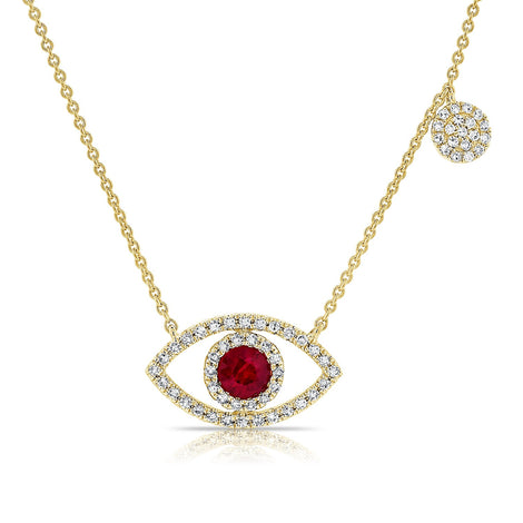 Evil Eye Ruby Necklace