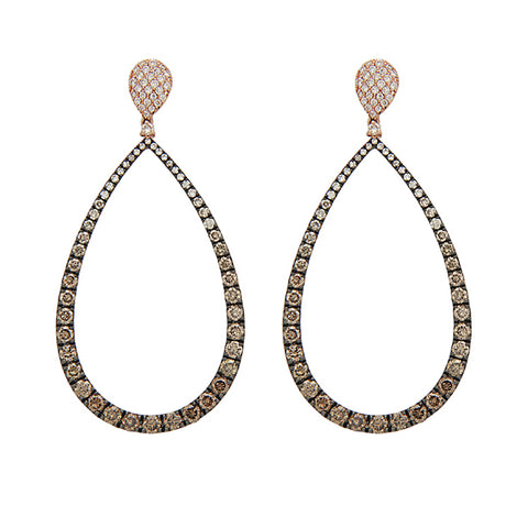 Tear Drop Champagne Diamonds Earrings