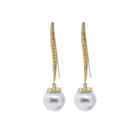 "18KT ""Kristi"" Earrings with 15mm South Sea Pearls Designed by OVII"