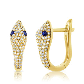 Diamond & Sapphire Snake Earrings