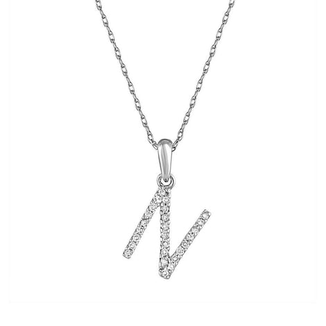 "White Gold & Diamond ""N"" Pendant"