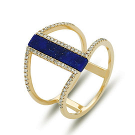 Diamond and Lapis Ring