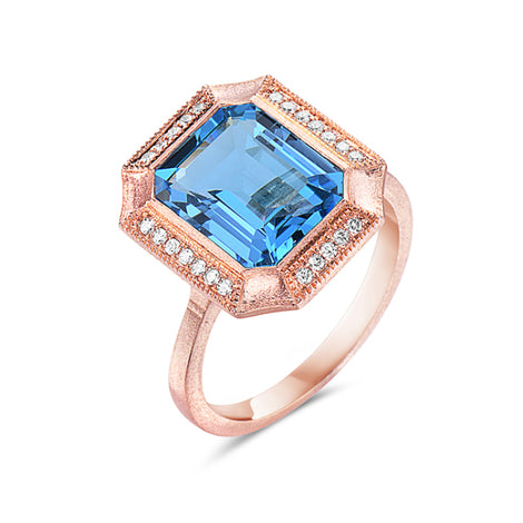 Bassali Rose Gold and Topaz Ring