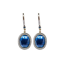 18KT Y/G Blue Topaz Earrings by Jenny Perl