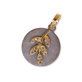 14kt Yellow Gold Diamond Leaf Pendent