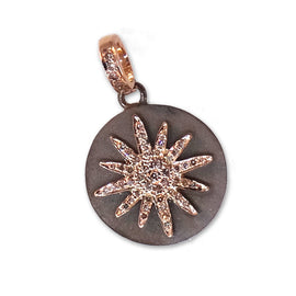 14kt Rose Gold Diamond Sun Pendent
