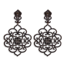 Black Rhodium Diamond Chandlier Earrings