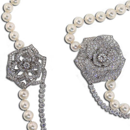 Piaget Signature Pearl and Diamond Rose Necklace