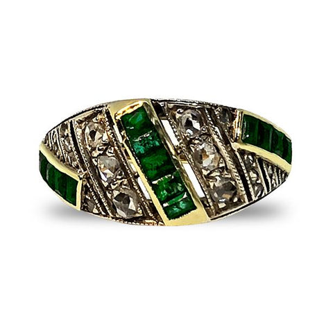 Emerald and Diamonds Gold Ring