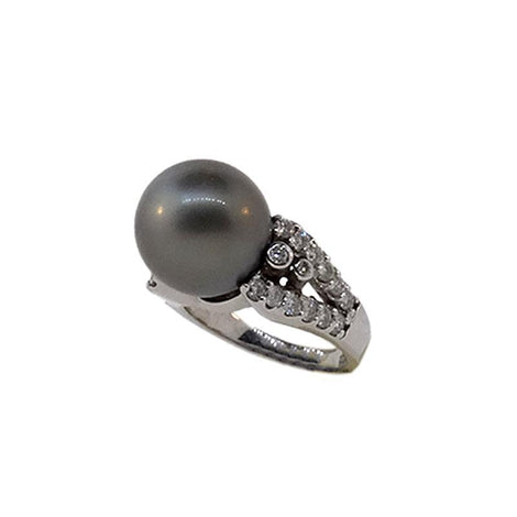 14kt White Gold Tahitian Pearl Ring