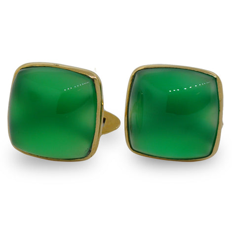 Cushion Green Onyx Cuff Links