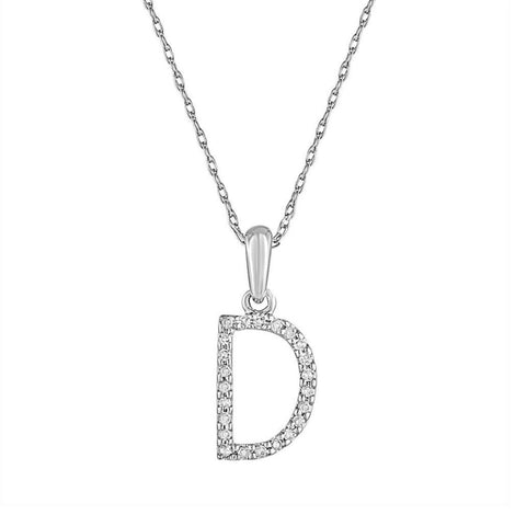 "Sabrina White Gold & Diamond ""D"" Pendant"
