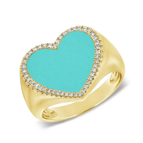 Turquoise & Diamond Heart Ring