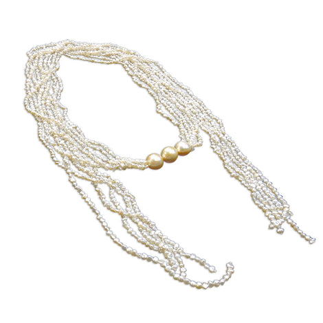 5 Strand Japanese Keshi with South Sea Golden Pearl  (3) Lariat