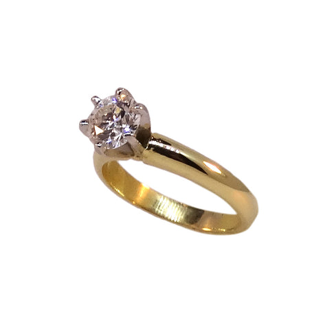 14KT Two Tone Round Diamond Engagement Ring