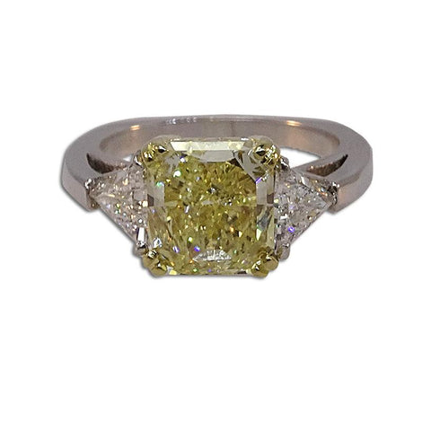 Yellow Diamond Radiant with Trillion Sides Diamond Ring
