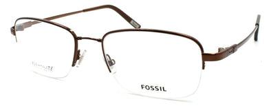 Fossil Trey 0TR2 Men's Eyeglasses Frames Half-rim Flexible 54-19-145 Dark Brown