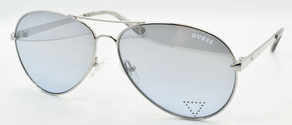 GUESS GU7616-S 10X Women's Sunglasses Aviator 58-12-140 Shiny Nickeltin / Blue