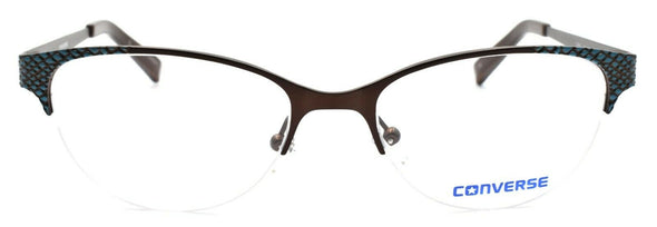 CONVERSE Q049 Women's Eyeglasses Frames Half-rim 50-17-130 Brown + CASE
