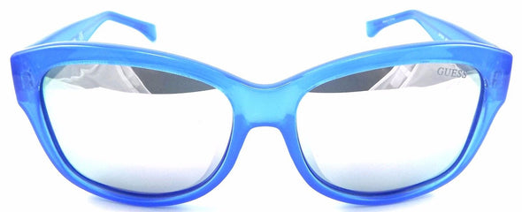 GUESS GF0259 90C Women's Sunglasses 56-16-135 Shiny Blue / Silver Mirrored Lens