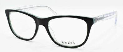 GUESS GU2585 005 Women's Eyeglasses Frames Cat-eye 52-17-135 Black / Clear +CASE