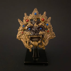 myanmarese ramayana miniature mask with a stand