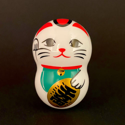 "Wobbly white maneki Neko ""wealth prosperity"""