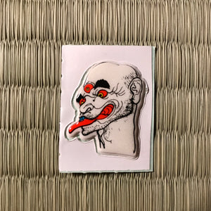 Vintage 80's Yokai sticker - mitsume nyudo the three eye monk